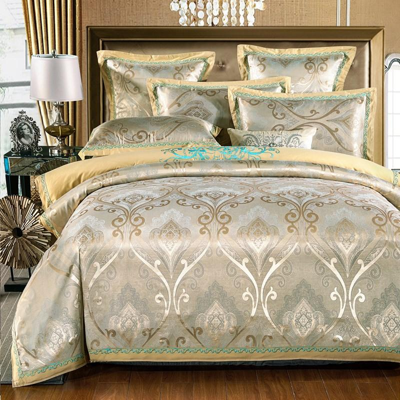 Jacquard Silk Cotton Bedding Sets King Queen Size 4pcs Europe Embroidered  Satin Duvet Cover Bed Sheet Linen Wedding Home Textile