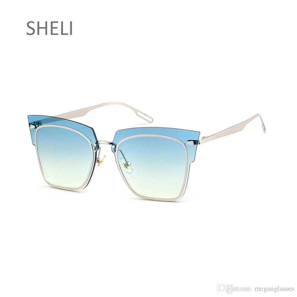 Compre Diseñador Sin Montura Gafas De Sol De Lente Azul Mujer Moda ...