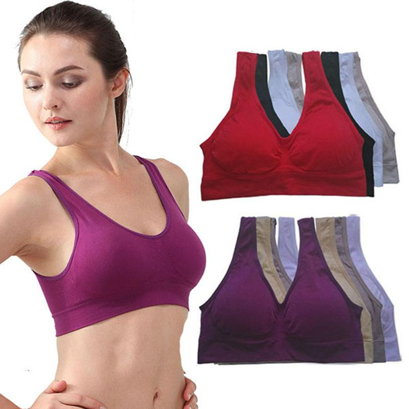 Womens Sport Bra Fitness Yoga Running Vest Underwear Padded Crop Tops Underwear 7 Colors No Wire-rim Bras Female