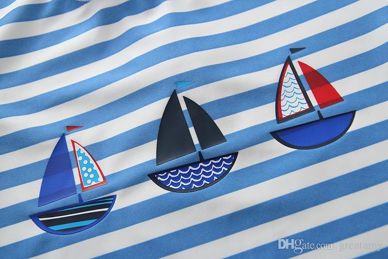 Kinder Bademode Blau gestreift Navy Junge Badeanzug Baby Jungen Sonnencreme Strand tragen mit Hut Kinder Badeanzug Top Qualität DHL Versand kostenlos
