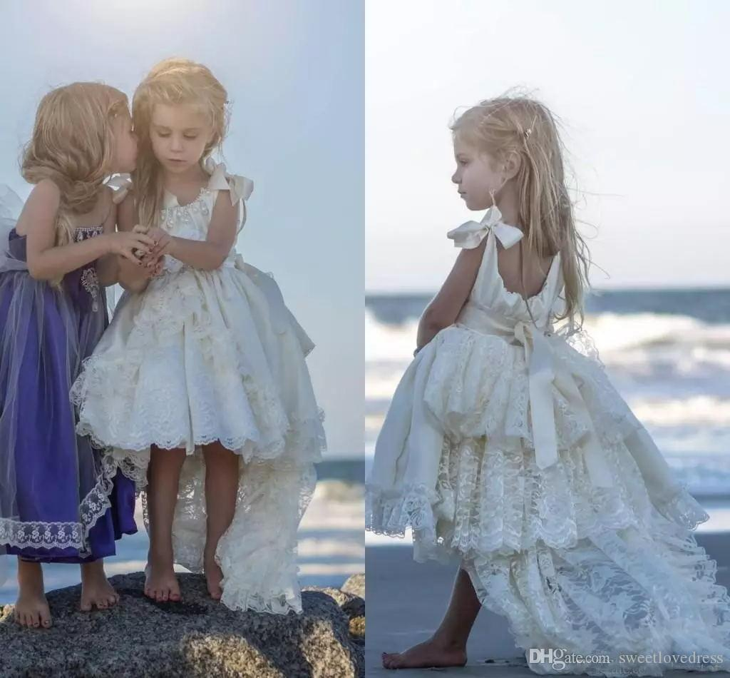 Ivory Lace Princess Flower Girls Dresses For Wedding Ribbon Straps ...