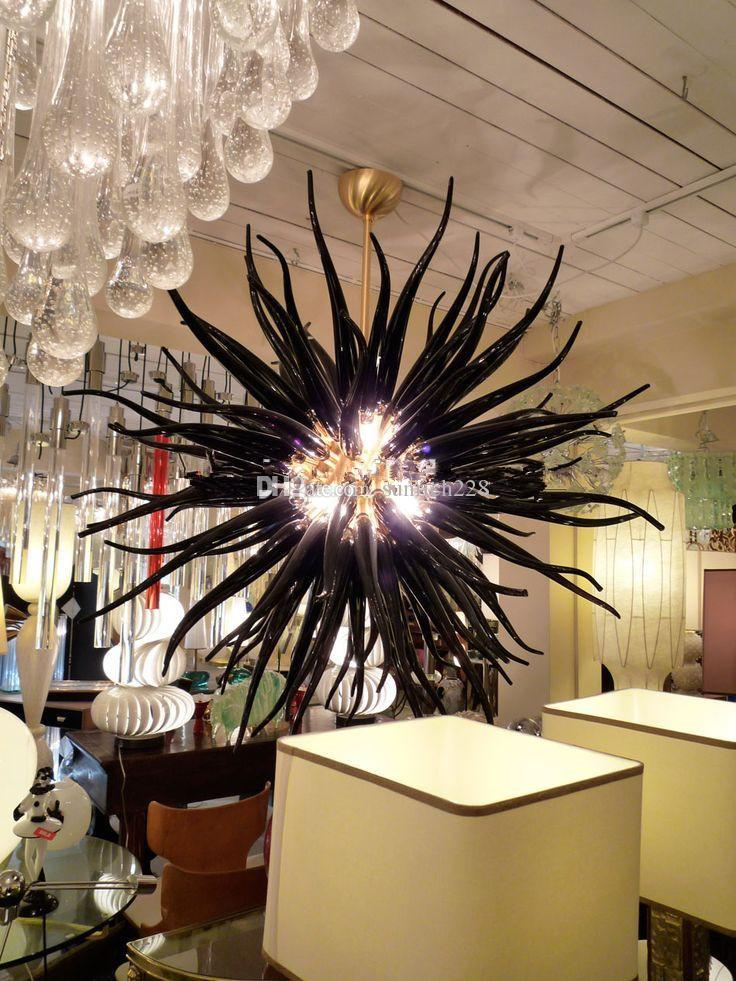 Luxury Home Decorations Energy Saving Led Light 100% Mouth Blown  Borosilicate Chihully Style Hand Blown Black Glass Chandelier Chandeliers  For Bedrooms ...