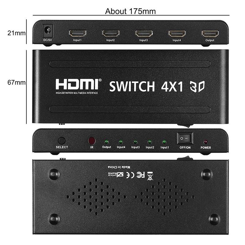 Kabel Splitter Hd 3d 1080p V1.4 4x1 Hdmi Schalter Splitter 4 In 1 ...