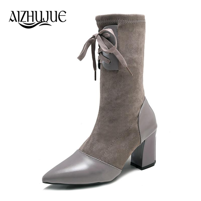 0688b2a2837 High Heel Boots Women Boots Comfort Fall Winter Faux Suede Fashion Shoes  Woman Black Dark Gray Black Girls Boots Black Ankle Boots From Wasabiu