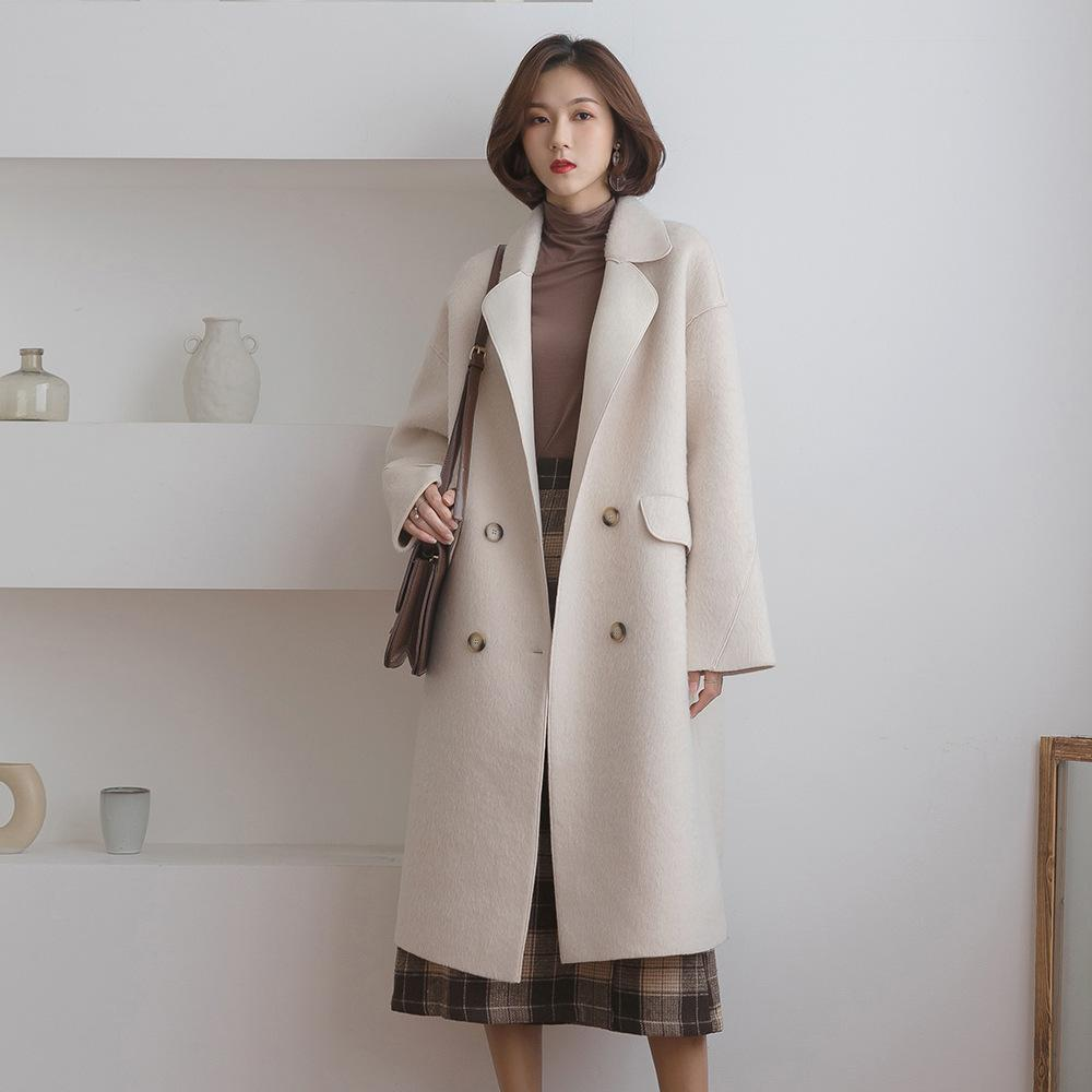 76eed8c3ba8 2019 2018 Korea Suit Dress Autumn And Winter Coats For Women New Pattern  Concise Lazy Double Wind Row Buckle Al Baq A Woolen Loose From Ebayfashion