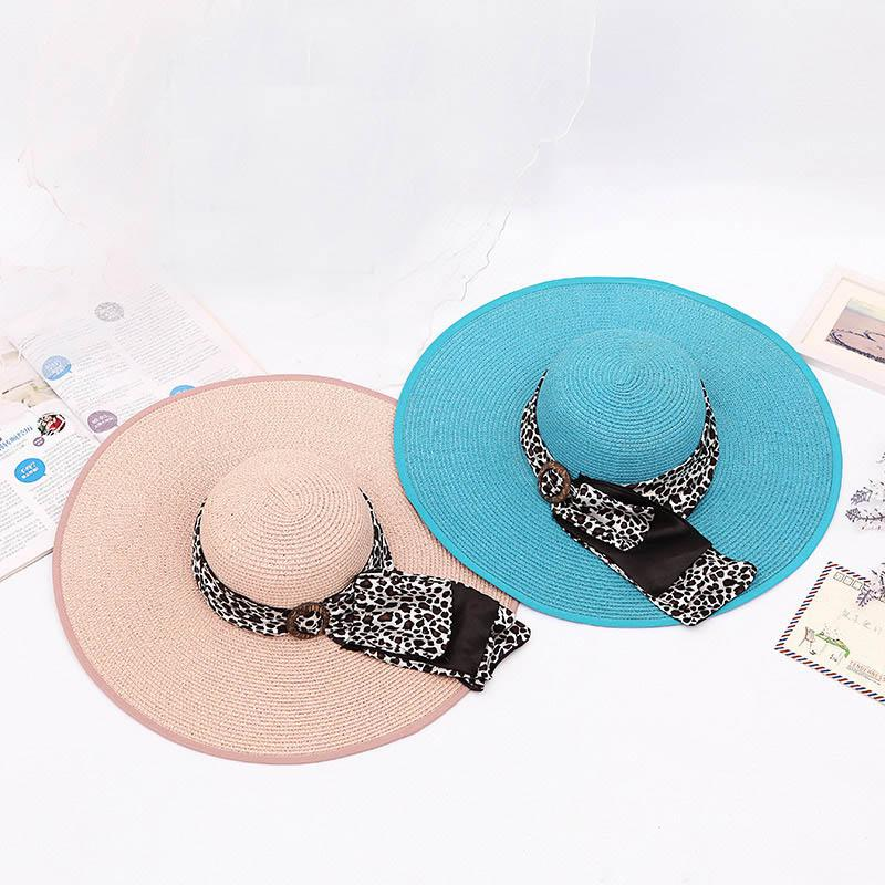 6a9f81a3d9021 Fashion Summer Women Sun Hat Leopard Button Ribbon Decorate Sunscreen  Foldable Straw Hats For Beach Wide Large Brim Hat UK 2019 From Ekkk