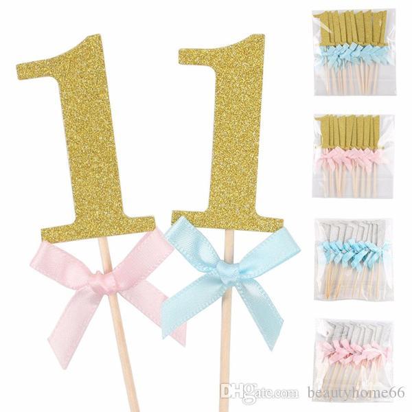 Grosshandel 10 Teile Satz Ersten Geburtstag Cupcake Toppers Junge