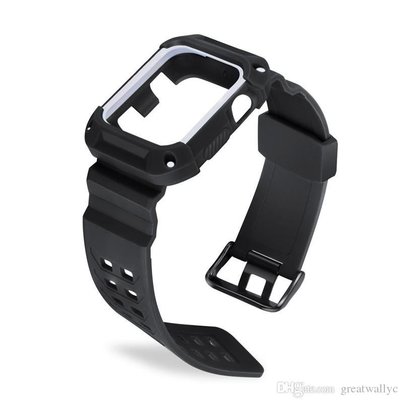 Integrated TPU Watch Band For Replacement Quick Fit Watch Strap With Soft Anti-Shock Protective Case For Watch 1&2