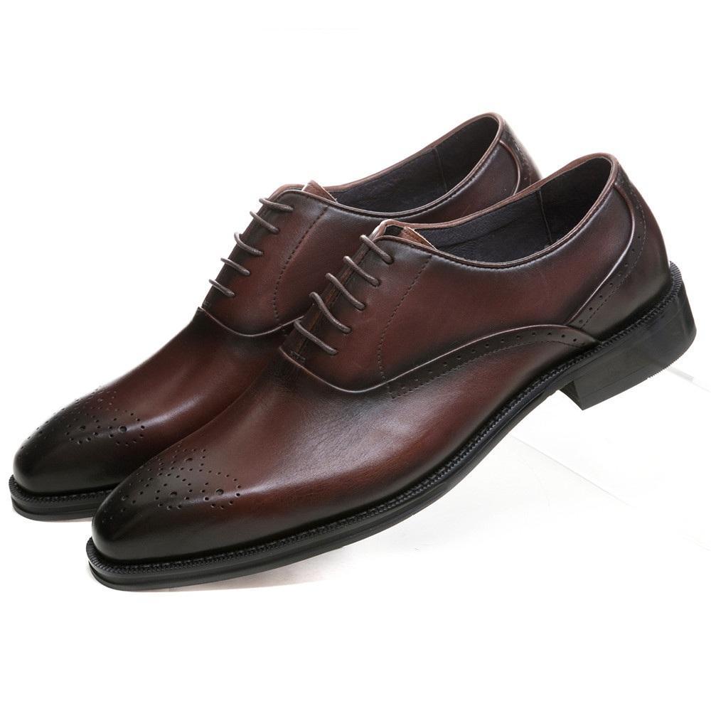 2cfc14b92b2 Compre Zapatos Goodyear Welt Marrones Marrones   Negros Oxfords Zapatos De  Vestir Para Hombre Boda Para Hombres De Negocios De Cuero Genuino A  172.85  Del ...