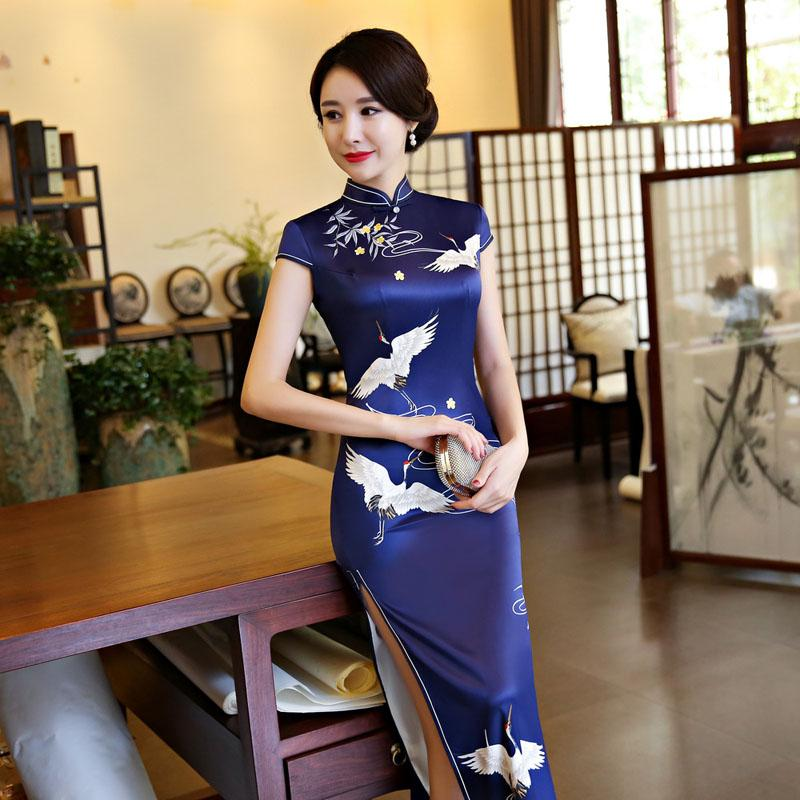 008534ed942bb Hot Sale Traditional Chinese Dresses Women Long Qipao Dress New Silk Satin  Qipao Sexy Slim Printed Cheongsam Plus Size M-3XL