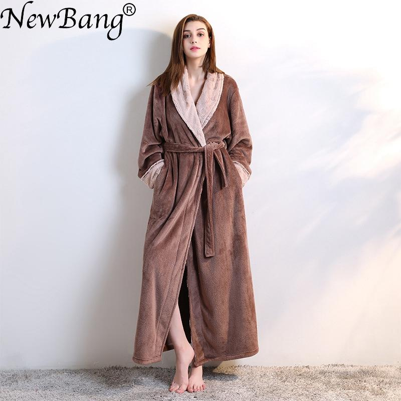 2019 NewBang Brand Women S Bathrobe Winter Extra Long Knitted Waffle  Flannel Coral Fleece Bath Robe Thicken Warm Nightgown Home Wear From  Junqingy 4eb01a722