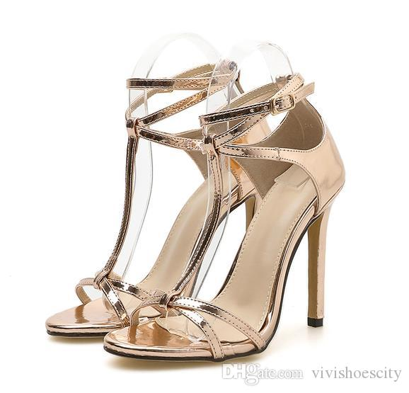d789c624aa675 Neue Champagner Gold T Riemchen High Heels Schuhe Abschlussball Schuhe  Größe 35 bis 40