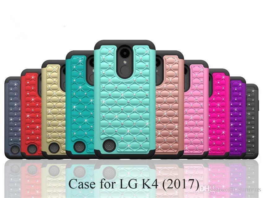 Diamond Hybrid царапинам жесткий задняя крышка противоударный Bling Case для LG K4 K3 K10 2017 Stylus3 LG G6 Shell обложка