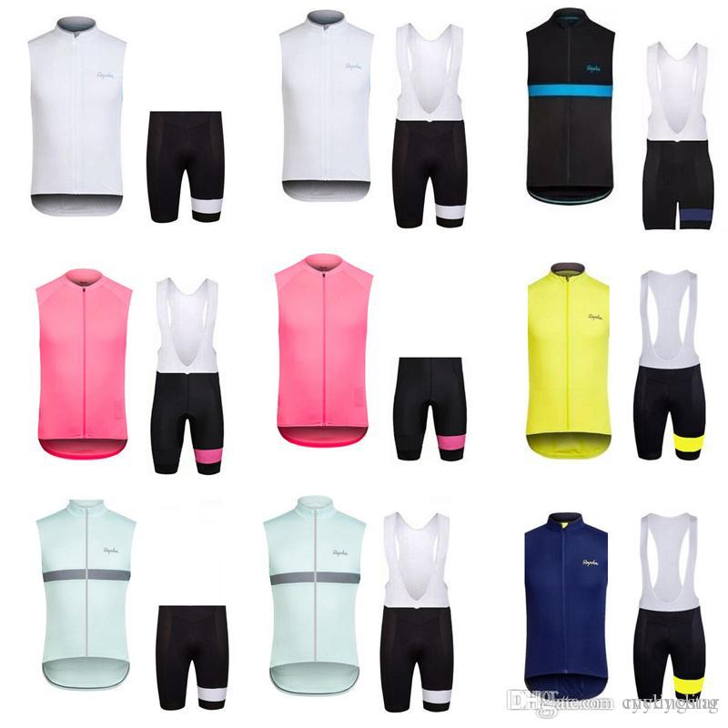 2018 Rapha Mens Cycling Clothing Cycling sleeveless Jerseys Set Cool Mountain Bike Vest Bib Shorts Suit Breathable bicycle Sportswear C2602