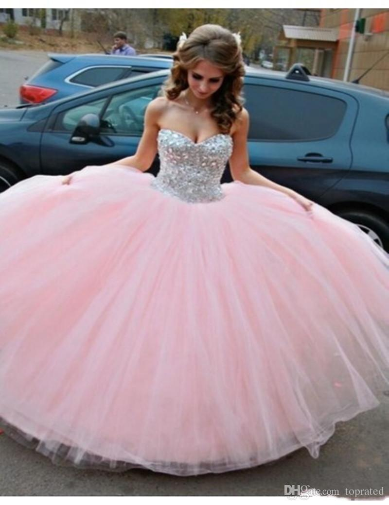 2018 Cheap Best selling elegant off the shoulder Pink wedding dresses Floor Length Tulle Ball Gown Sweetheart Crystal Beaded bridal dresses
