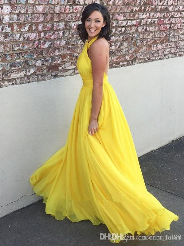 Bright yellow chiffon long prom dresses 2019 halter keyhole open back bridesmaid dresses sexy cocktail party dresses evening gowns