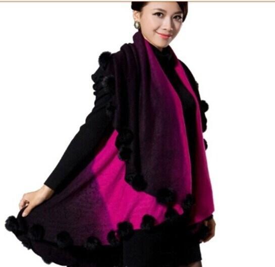 NEW Gradient color rabbit fur jacquard Cape Poncho vest Cardigan Knitting lady shawl stole wraps Sweater #3617