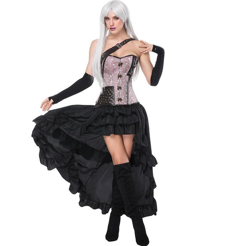 dd025cfdc Corsé rosa floral con faldas Sets Mujer Steampunk Correa de un solo hombro  Corsés y faldas cortadas negro Falda larga Set Stage Costumne