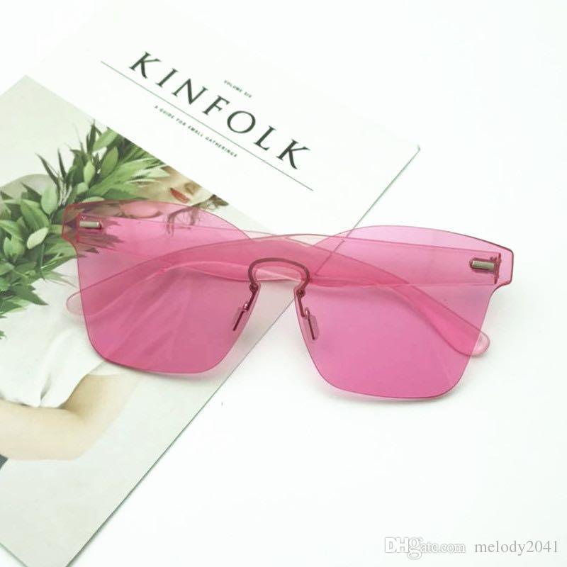 Yeni Şeker Renkler Çerçevesiz Güneş Gözlüğü Kelebek Şekli Kadınlar Ve Erkekler Için Bir Adet Güneş Gözlükleri Moda Kalkan UV400