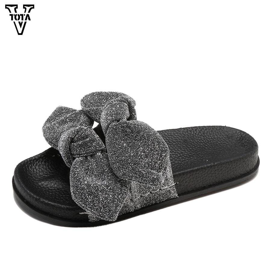 9a94206d9280 Wholesale Slipper Women Fashion Low Heel Big Bow Silk Shoes Open Toe Summer Slippers  Shoes Beach Female Slip On Luxury Sandals YC Green Shoes Ankle Boots ...