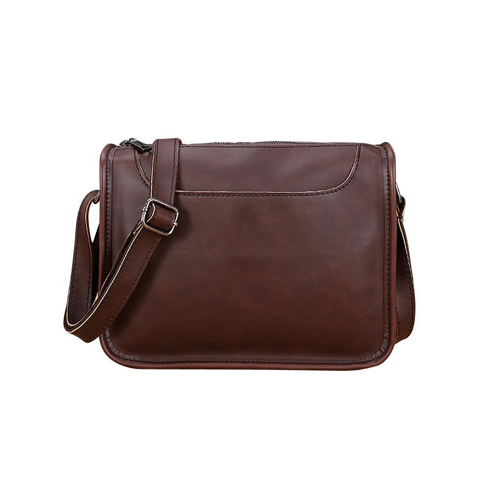 Vintage Coffee Black Crazy Horse Soft Leather Messenger Bag For Men Retro  Simple Zipper Shoulder Bags Men s Shoulder Bag Cross Body Purses Cheap  Designer ... 45a27f6254af1