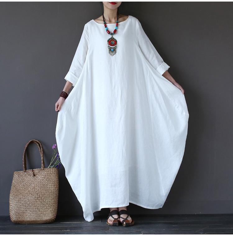 a34b5a6dec524 Acheter Summer Plus Size Robes Pour Femmes 3xl 4xl 5xl Lâche Coton Robe En  Lin Blanc Boho Chemise Robe À Manches Longues Longue Maxi Robe De  20.0 Du  ...