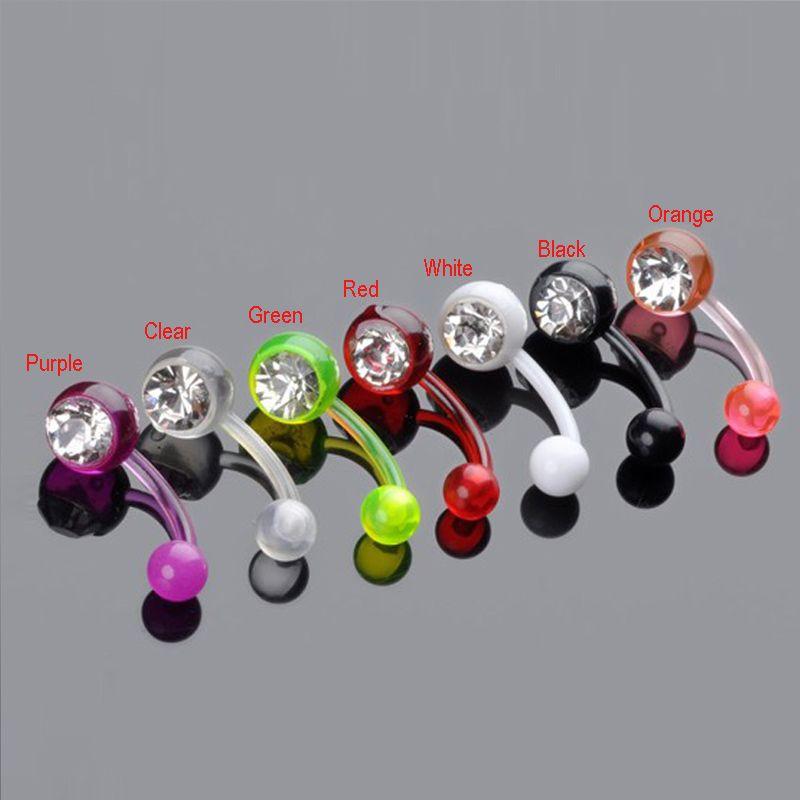 Shining Acrylic Belly Piercing Ombligo 1.6*11mm Crystal Navel Piercing Indian Style Navel Ombligo Piercing Nombril Nose Ring