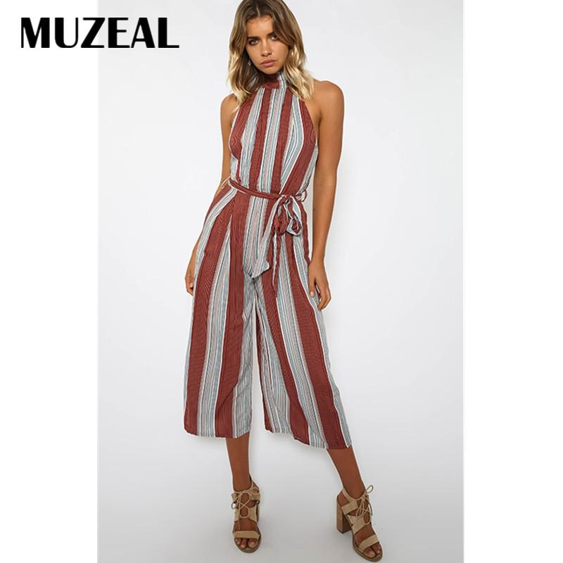 ef14290f05ba 2019 MUZEAL Stripe Halter Woman Jumpsuits Cropped Pants Backless Sleeveless  Waist Ties Sashes Wide Leg Loose Capri Pants Rompers 111 From Lvyou09