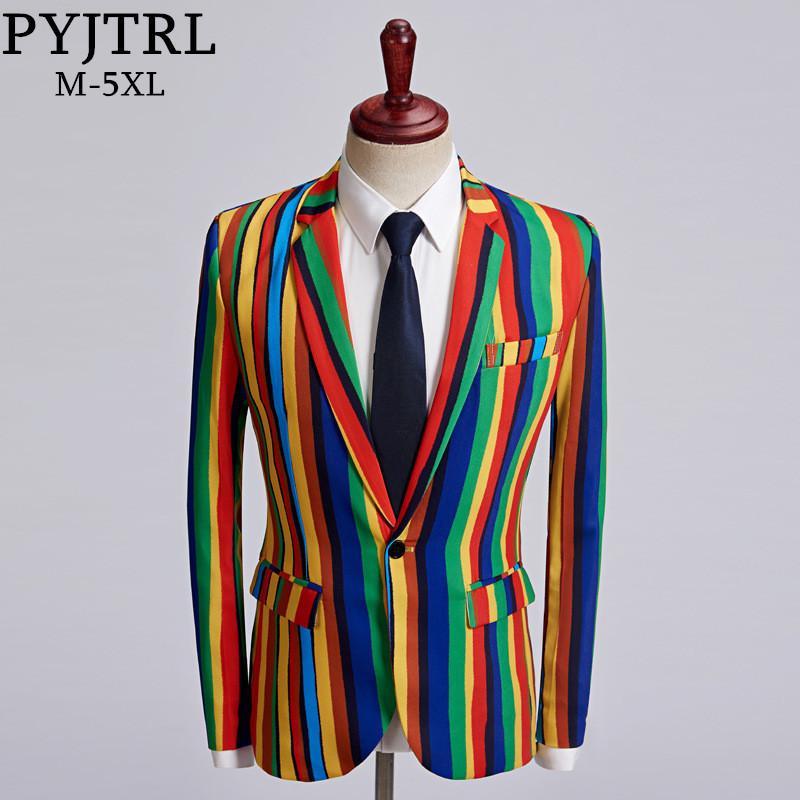 Compre PYJTRL New Mens Colorful Stripe Print Blazer Design Plus Size  Elegante Casual Hombre Slim Fit Chaqueta Singer Prom Coat Outfit D18101105  A  74.2 Del ... c1ca5d6af1c