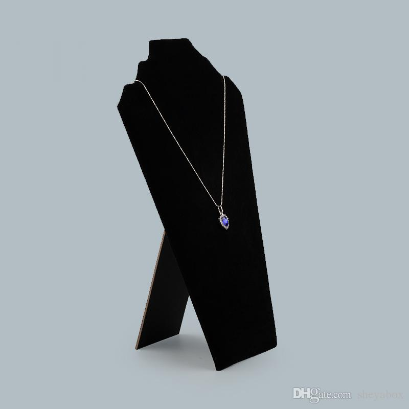 Tall Jewelry Necklace Chain Display Stand Black Velvet Foldable Cardboard Jewellery Displays for Boutique Shop Shelf Kiosk Craft Market Show