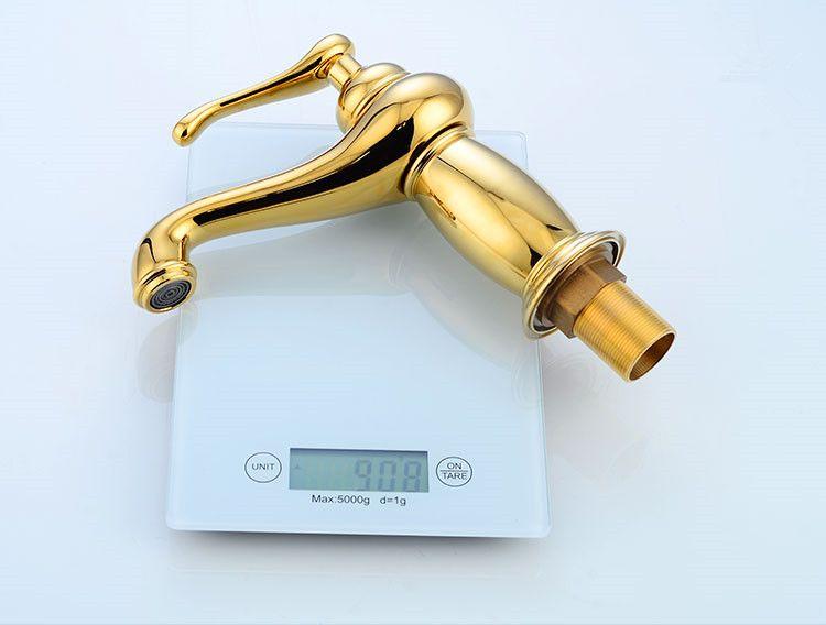 Basin Faucets Gold-plating Bathroom Sink Taps Single Hole Bathroom Basin Faucet Gold Finish Brass Mixer Tap Torneiras para
