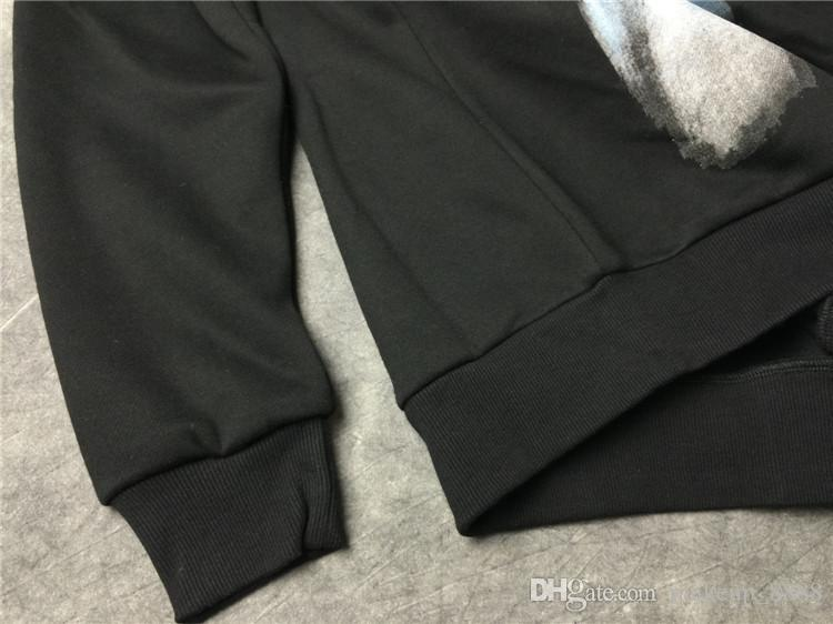 Étiquette De Marque De Mode Automne Vêtements Hommes Poisson Noir Tête Dentaire Impression Hoodies Femmes Coton Sweat-shirt