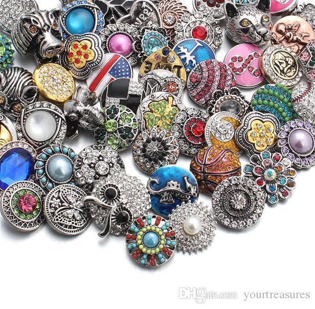 lot смешанный стиль 18 мм металлические кнопки Оснастки ювелирные изделия 50 конструкций имбирь горный хрусталь Оснастки Fit 18 мм Оснастки браслет ожерелье
