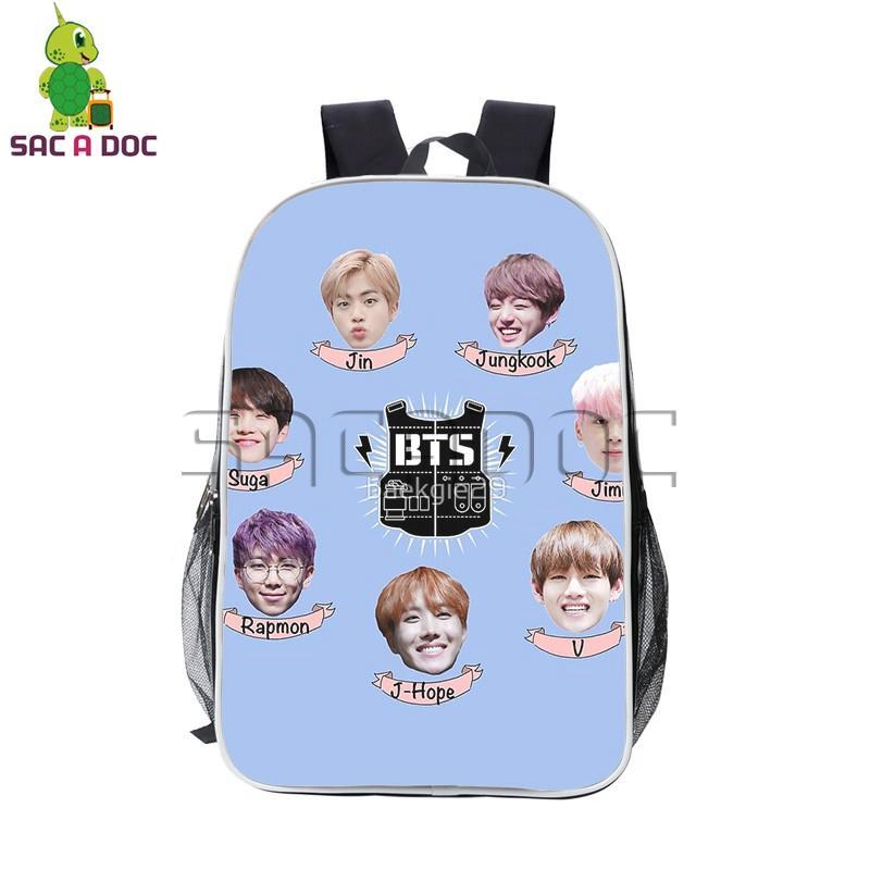 Cute Chibi BTS Bangtan Boys Photo Pu Leather Backpack Rap Monster JIN SUGA  J-HOPE JIMIN V Daily Backpack Boys Girls School Bags