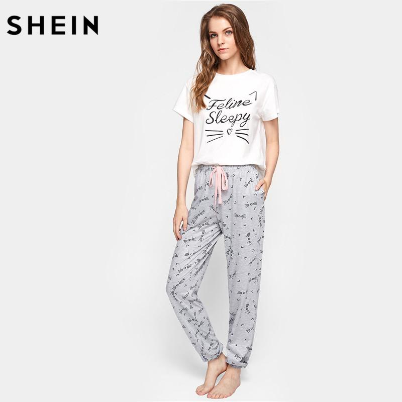 SHEIN Cat Pattern Print Round Neck Short Sleeve Top And Pants Pajama Set  Cute Summer Sleepwear Pajamas For Women UK 2019 From Maoyili 19602d702