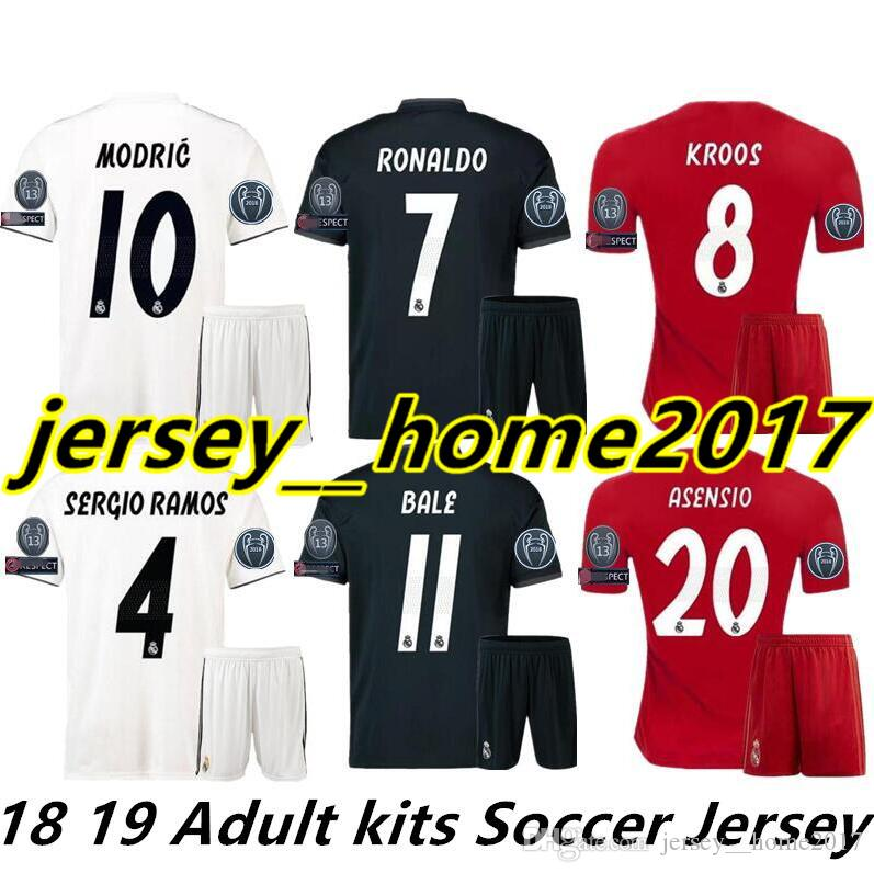 514ee0141 2019 2018 2019 Real Madrid Home Third Red Adult Soccer Jerseys Kits 18 19  RONALDO SERGIO RAMOS BALE RAMOS ISCO MODRIC Benzema Football Shirts From ...