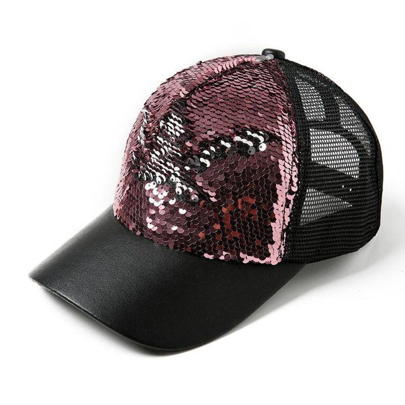 ee08fb59f1e 2018 Hot Fashion Mermaid Sequins Baseball Hats Summer Mesh Cap ...