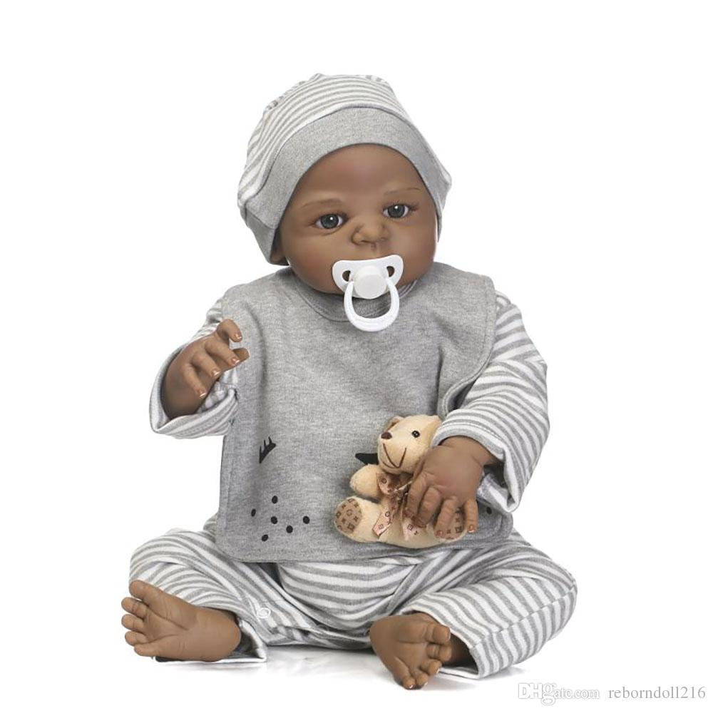 23 Inch Lifelike bebe Reborn Bonacas 57 cm Full Silicone Vinyl Reborn Babies Doll Toy Black Boy Baby Doll For Kids Birthday Gifts