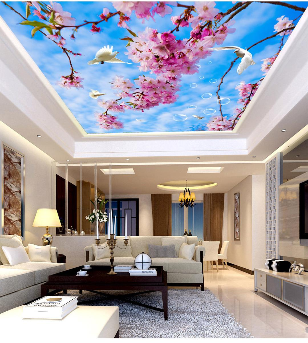 Custom Retail Blue Sky White Clouds Cherry Blossoms Zenith Murals Sunny White Clouds Long Birds Flying Murals