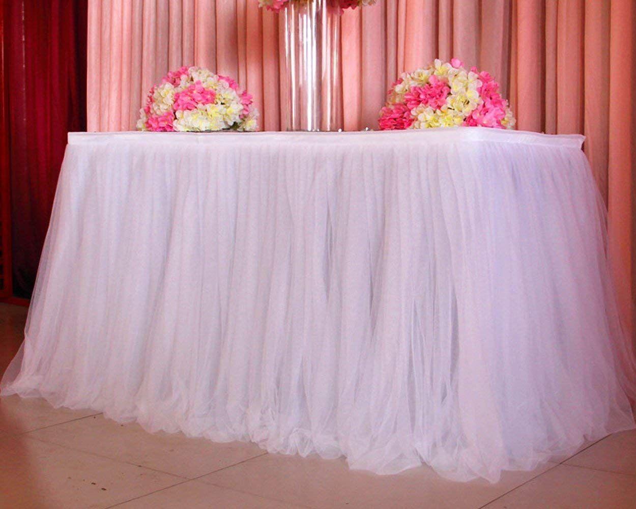 Decoração De Casamentos Simples 80 Cm Altura Tule Mesa Saia Bolo