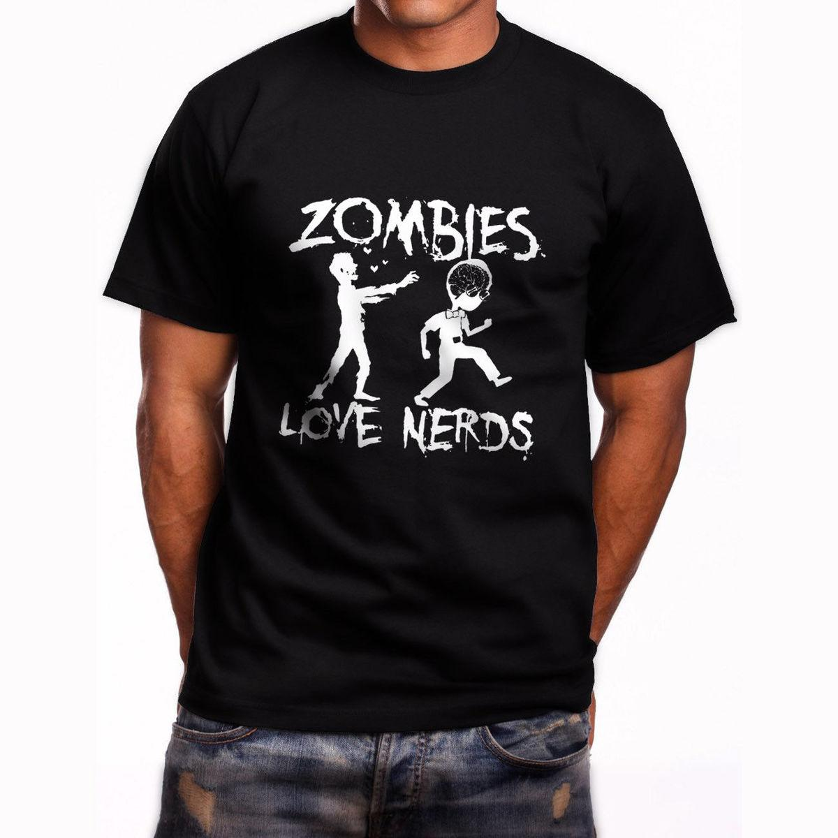95d21a9b2 New Zombies Love Nerds Graphic Short Sleeve Men'S Black T Shirt Size S To  5XL Style Round Style Tshirt Tees Custom Jersey T Shirt Quality T Shirts T  Shirt ...