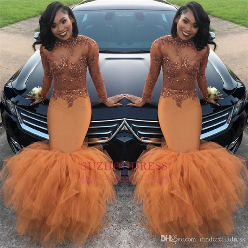 2018 Африканский длинным рукавом многоуровневая юбки платья выпускного вечера высокая шея Sheer видеть сквозь кружева аппликация топ бисером плюс размер вечерние платья BA8084