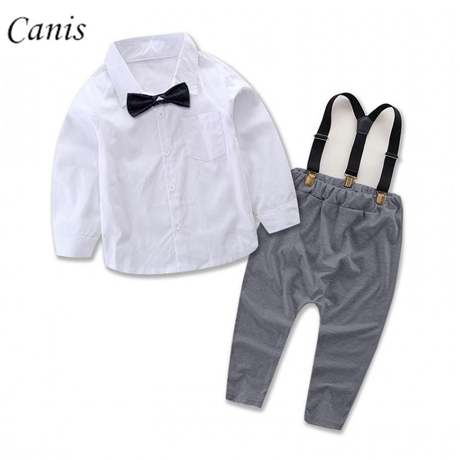 Compre Bebê Recém Nascido Da Criança Dos Miúdos Do Bebê Menino Roupas De  Homem Gentil Set Camisa Branca Tops + Suspender Calças Roupas Roupas Outfits  De ... 72d0ad47e9c