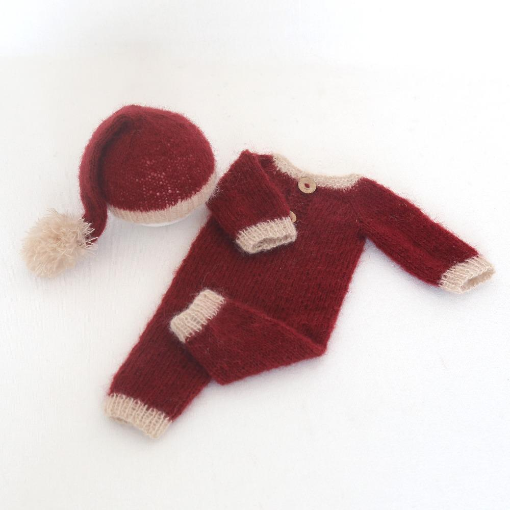 2019 Santa Outfit Knot Hat Mohair Bodysuit Newborn Pajamas Knit Romper Onesie  Newborn Christmas Outfit Photo Prop From Begonior f5683f47dad