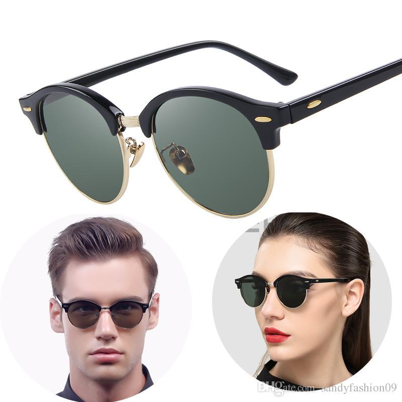 Compre Homens Retro Rebite Polarizada Luxo Óculos De Sol Clássico Marca  Designer Unisex Óculos De Sol Metade Quadro Cat Eye Uv400 Óculos De Sol De  ... 19e3e3a4d7