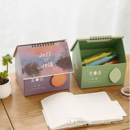 2018 cute creative house desk calendar small fresh multifunctional calendar desktop storage box school office supply hanging decor gift special dates