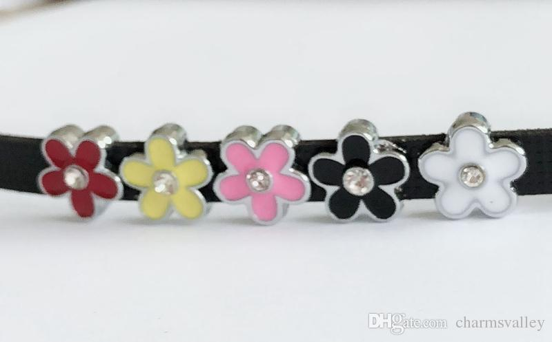 Mixed Color 8MM Enamel Flower Slide Charms Letters DIY Accessories Fit 8mm Wristband Pet Dog Name Collars Belts Phone Strips