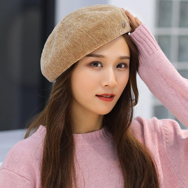 3b2bf5aab34 Woman Autumn Winter Beret Hat Female Painter Helmet Pumpkin Cap Solid Color  Chenille Bud Cap Wholesale Winter Beret Woman Cap Pumpkin Cap Online with  ...