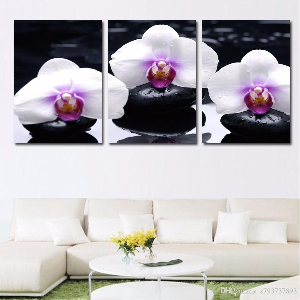 2018 Frame Hd Home Decor Printed Pictures 3 Panel White Orchid