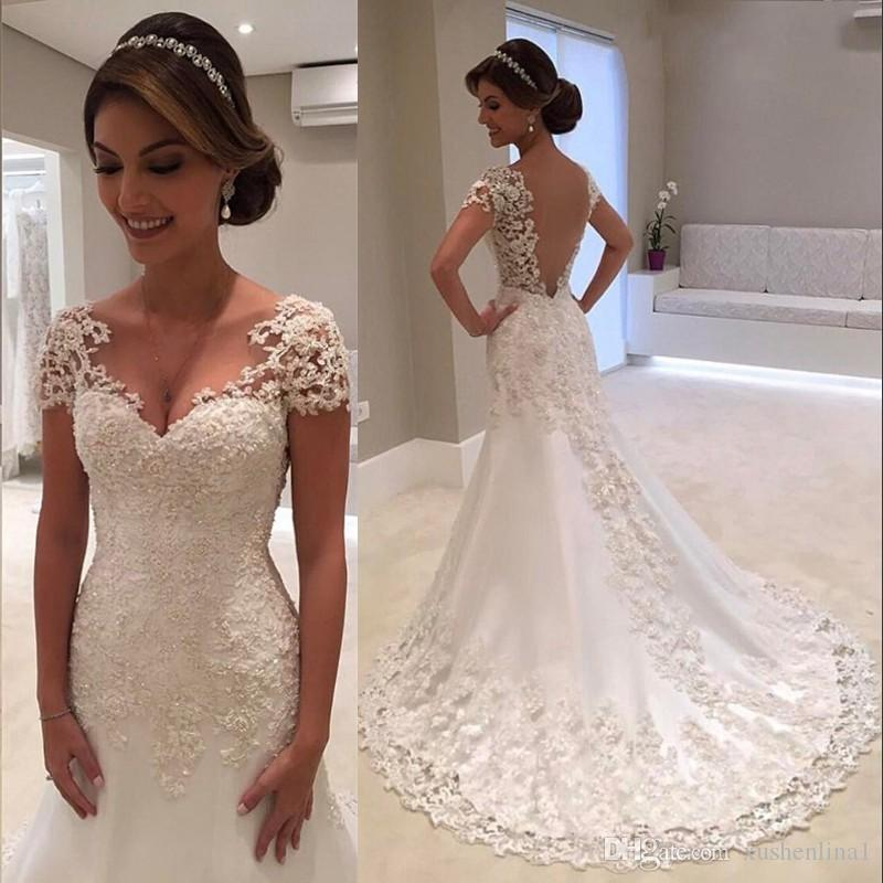 Classic Vintage Mermaid Wedding Dresses 2018 Full Beaded V Neck Short Sleeve Lace Appliques Wedding Gown Custom Made Vestido De Noiva Robe D